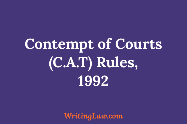 Contempt of Courts (C.A.T) Rules, 1992