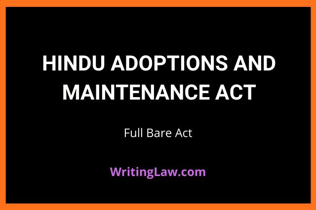 Hindu Adoptions and Maintenance Act