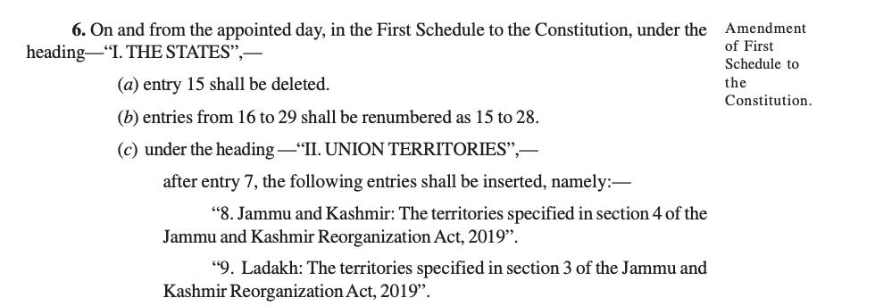 Jammu and Kashmir Reorganisation Act, 2019 Article 6