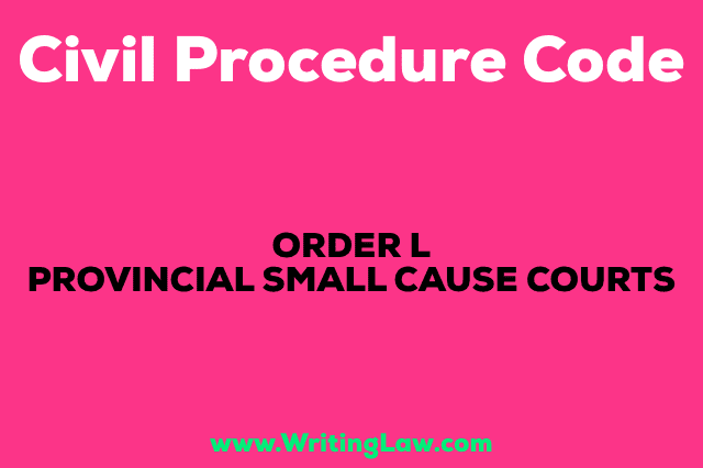 PROVINCIAL SMALL CAUSE COURTS