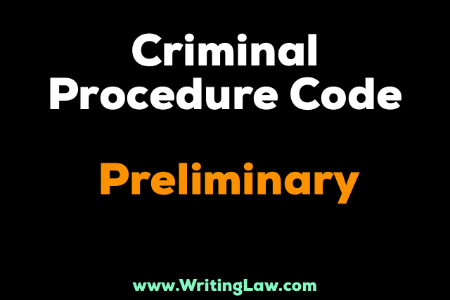 Criminal Procedure Code Chapter I