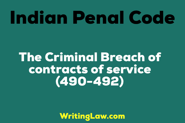 CRIMINAL BREACH OF CONTRACTS OF SERVICE