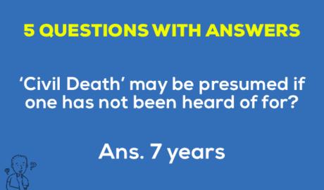 Civil Death may be presumed