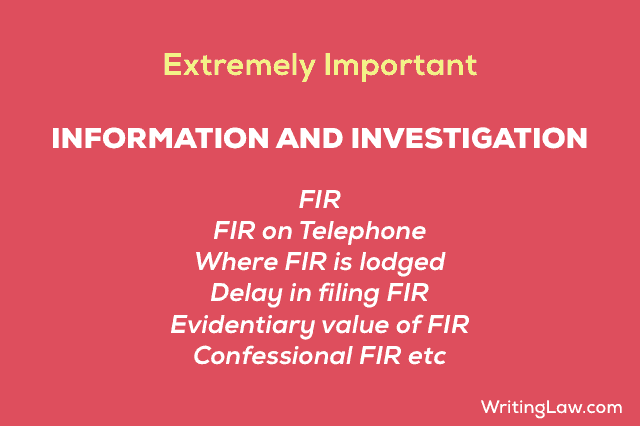 Information and Investigation, FIR