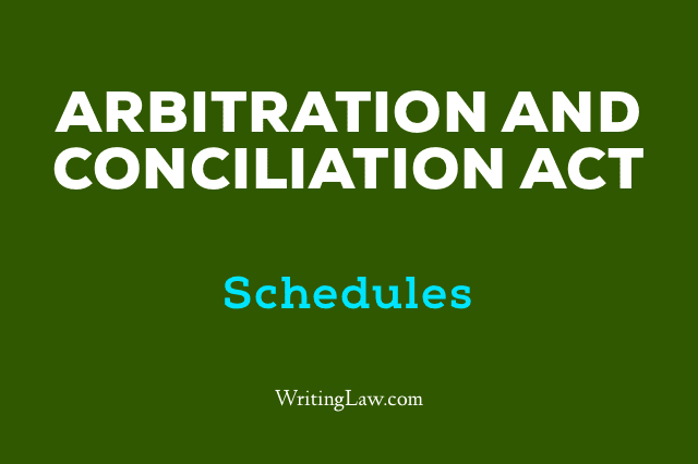 Arbitration and Conciliation Act, 1996 Updated 2019 Schedules