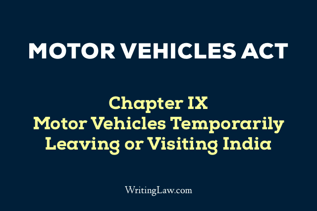 Motor Vehicles Act Chapter 9