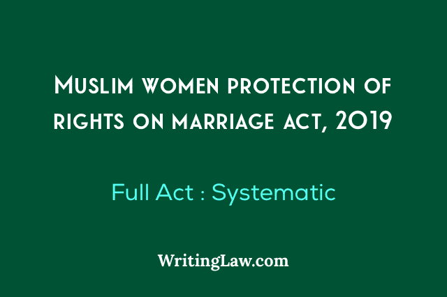 Muslim Women, Muslim Women Protection of Rights on Marriage Act